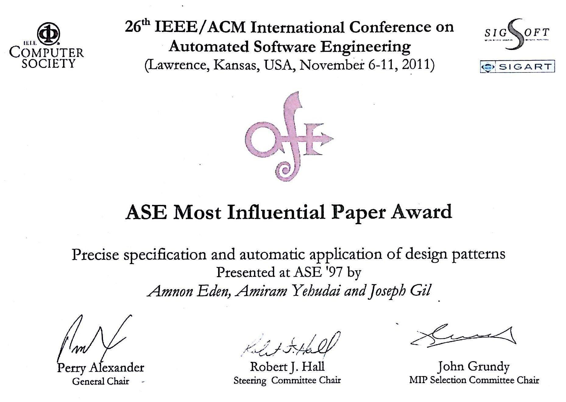 Automated Software Engineering Most Influential Paper Award